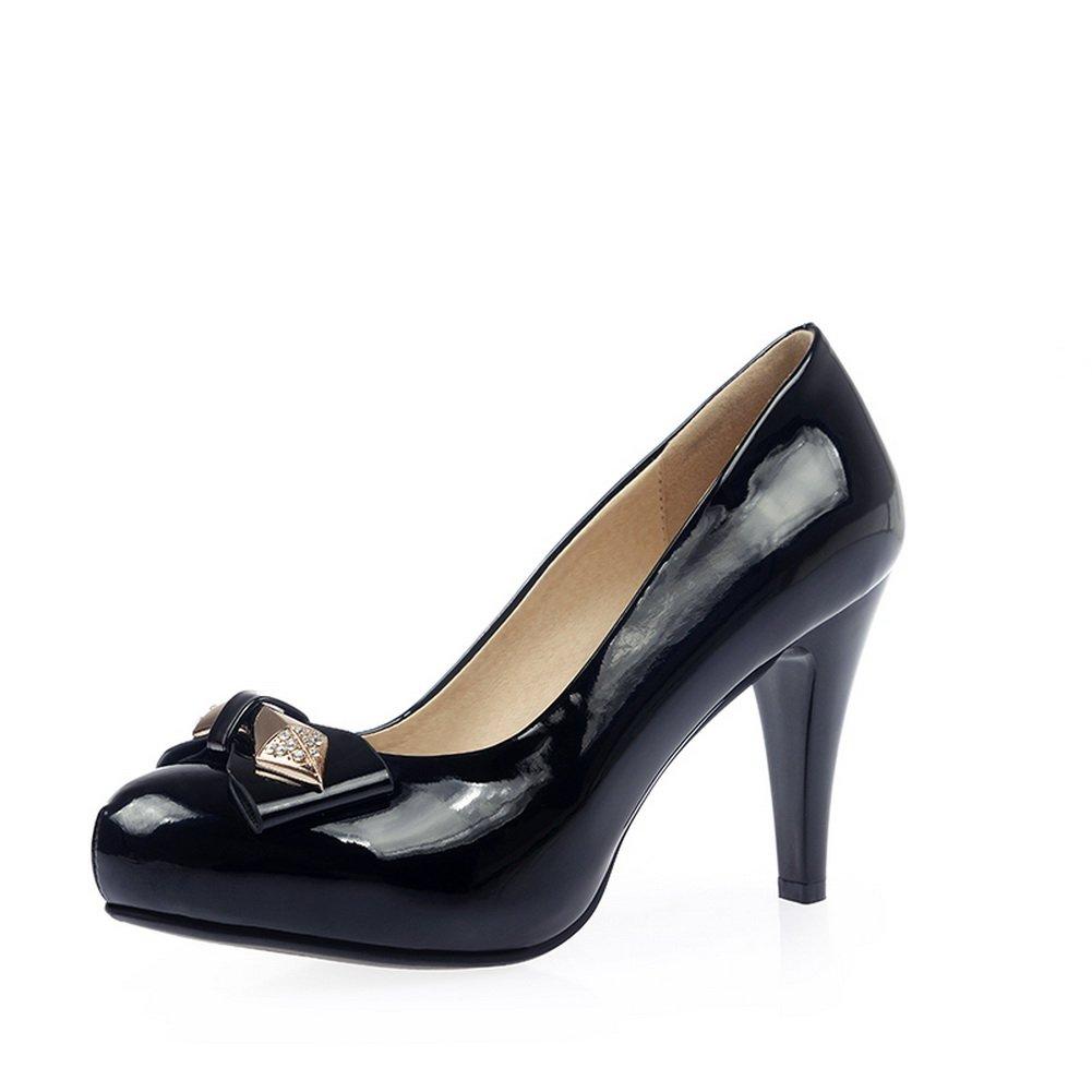 BalaMasa Womens Spun Gold Bowknot Metal Ornament Glass Diamond Black Patent Leather Pumps-Shoes - 6.5 B(M) US