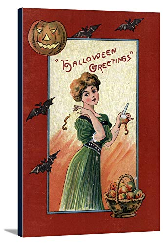 Halloween Greeting - Woman in Green Dress Peeling Apple (22 1/2x36 Gallery Wrapped Stretched Canvas)]()