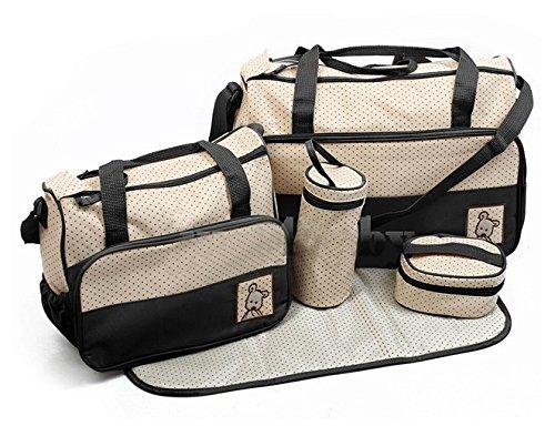 5 piezas multifuncional momia bolso bolsas bebé cambiar bolsa de pañales, negro negro