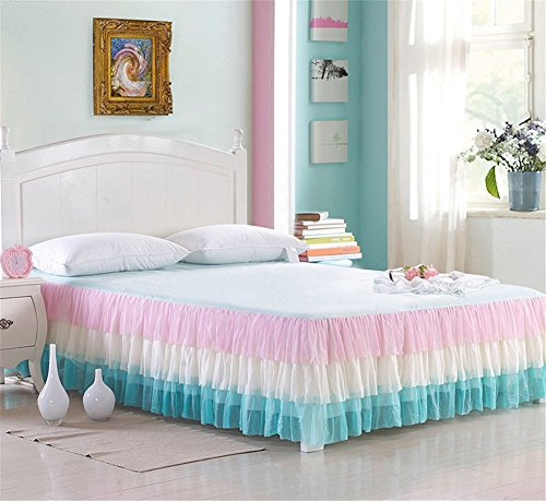 Triple Lace Princess Bed Skirts 17.7 inch Drop Colorful Dust