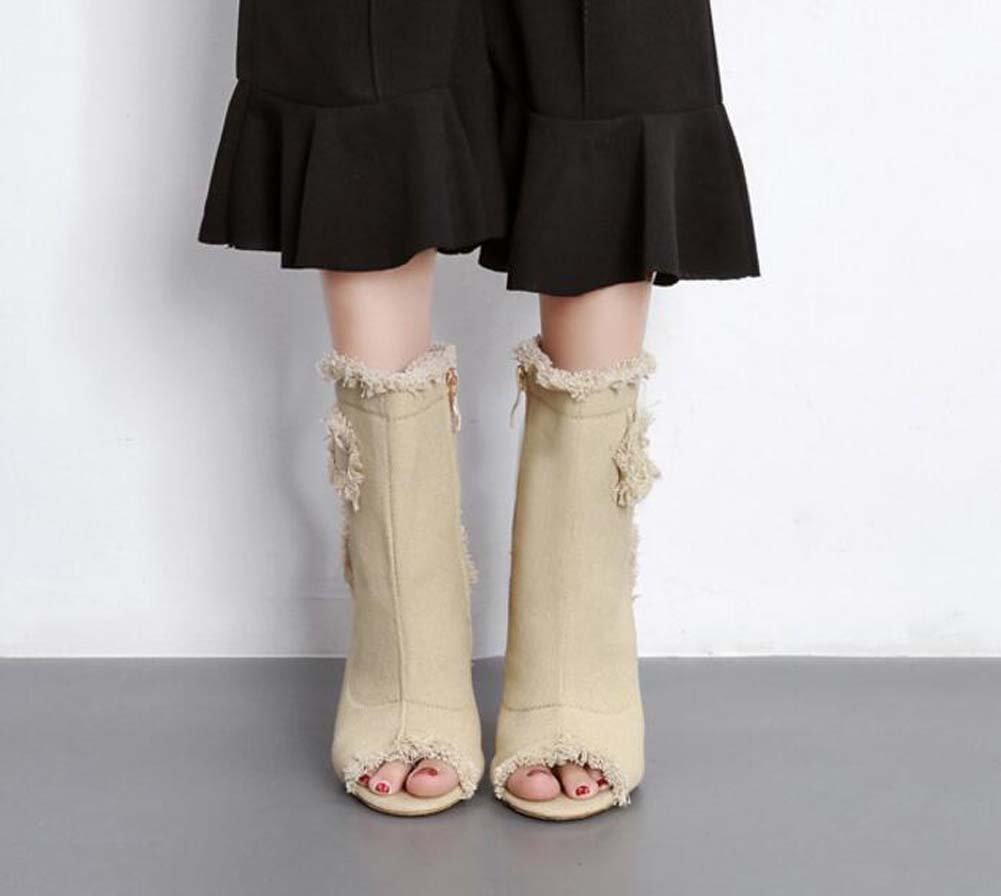 Coole Stiefel Stiefeletten 10.5cm Stiletto Peep Toe Toe Toe Slingbacks High Heel Kleid Schuhe Court Schuhe Frauen Elastizität Denim Spitze reine Farbe Stiefelie Eu Größe 35-40 cb0718