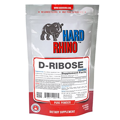 Hard Rhino D-Ribose (Bioenergy Ribose) Powder, 125 Grams (4.4 Oz), Unflavored, Lab-Tested, Scoop Included