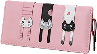 Diyafas Long Zipper Wallet for Women Buckle Cartoon Cat Purse Ladies Large Capacity Card Holder Handbag