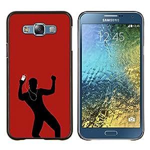 KLONGSHOP // Cubierta de piel con cierre a presión Shell trasero duro de goma Protección Caso - Dance Music Amor Hombre Rojo Auriculares - Samsung Galaxy E7 E700 //