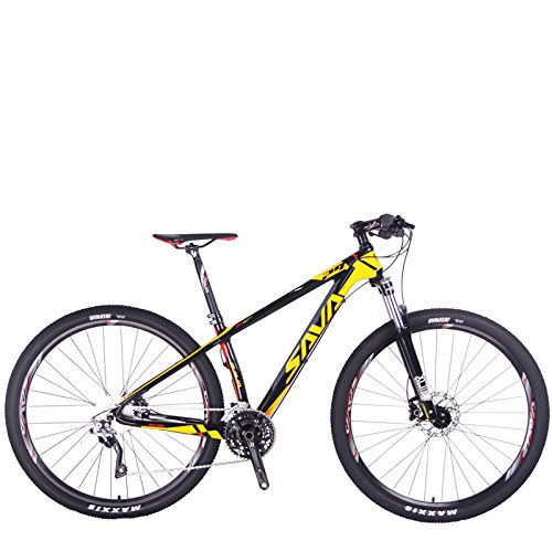 "SAVADECK DECK 300 Carbon Fiber Mountain Bike 29 inch Complete Hard Tail MTB Bicycle 30 Speed SHIMANO M610 DEORE (Yellow,2919"")"