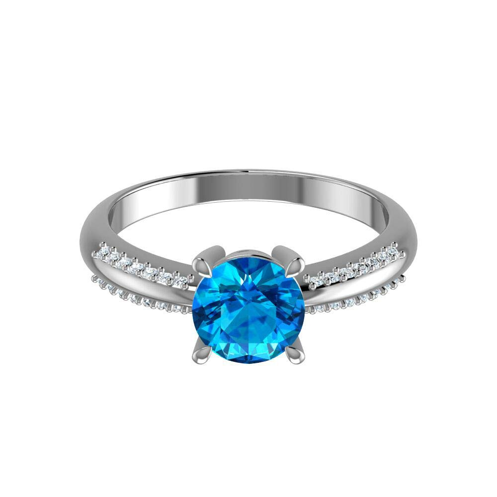 Belinda Jewelz Womens 925 Sterling Silver Center 7 mm Round Gemstone Ring Belinda Thailand