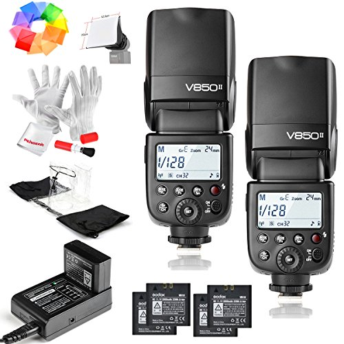 2 Pcs Godox Ving V850II GN60 2.4G 1/8000s HSS Camera Flash Speedlight with 2000mAh Li-ion Batteries Features 1.5s recycle time and 650 Full Power Pops for Canon Nikon Pentax Olympas