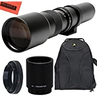High-Power 500mm/1000mm f/8 Manual Telephoto Lens + Deluxe SLR BackPack for Canon Digital EOS Rebel T1i, T2i, T3, T3i, T4i, T5, T5i, T6i, T6s, SL1, EOS60D, EOS70D, 50D, 40D, 30D, EOS 5D, EOS1D, EOS5D III, EOS 5Ds, EOS 6D, EOS 7D, EOS 7D Mark II Digital SLR Cameras