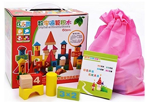 Adichai 60 Pcs Wooden Digital Blocks with Attractive Colour Puzzle Learning Game for Kids  Multicolor    Wooden Educational Toy for Kids