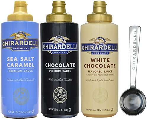 Ghirardelli - Sea Salt Caramel, Chocolate and White Chocolate Flavored Sauce (Set of 3) - with Limited Edition Measuring Spoon by Ghirardelli