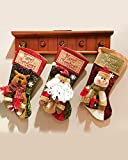 Omozy Christmas Santa Snowman Bear Deer Snowflake 3D Large Stocking Hanging Gifts Bag Decorations 3pc Stockings
