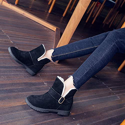 Beautyjourney Pelle Donna Cunei Scarpe Stivali Stivaletti Boots Martin Invernali Cuoio Da Nero Neve Pelliccia Eleganti Bassi YFqCwrY