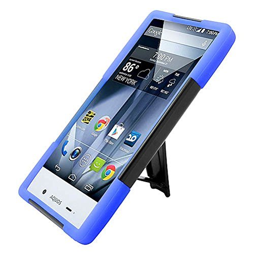 Sharp Aquos Crystal 306SH Case, Premium Hard & Soft Rugged Shell Hybrid Heavy Duty Impact Armor Protective Phone Case Cover with Built in Kickstand For Sharp Aquos Crystal 306SH【Storm Buy】 (blue)