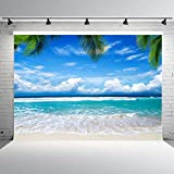 Nextunit 7x5ft Summer Beach Backdrop for Photographers Vinyl Tropical Trees Blue Sky Studio Photo Background Party Banner for Decoration