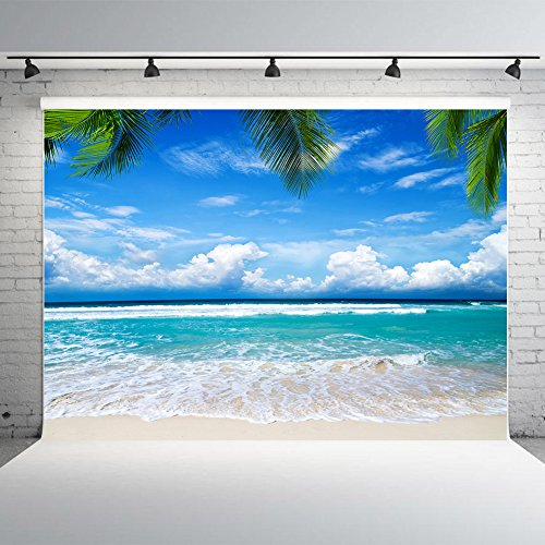 Nextunit 7x5ft Summer Beach Backdrop for Photographers Vinyl Tropical Trees Blue Sky Studio Photo Background Party Banner for Decoration by Nextunit