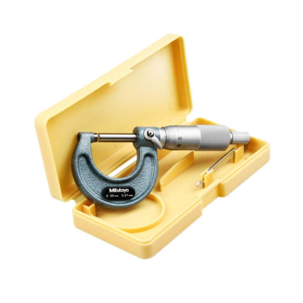 Baked-enamel Finish Mitutoyo 103-130 Outside Micrometer 0.001mm Graduation +//-0.002mm Accuracy Ratchet Stop 25-50mm Range