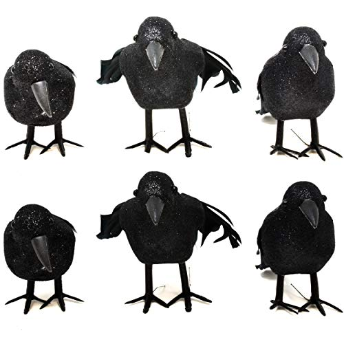 Gift Boutique Halloween Black Feathered Crows 6 Pack Artificial Realistic Fake Scary Bird Ravens Figurine Ornaments 6.5