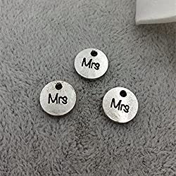 10pc Antique Silver Alloy Metal MRS Charms- Wedding Bride Married Jewelry Making- 10mm