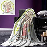 Zodiac Gemini Super Soft Lightweight Blanket Cartoon Style Little Girl with a Mirror and Reflection Twins Concept for Kids Oversized Travel Throw Cover Blanket 90''x70'' Multicolor