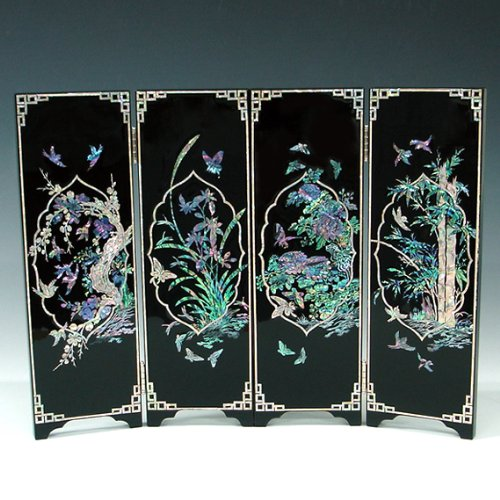 Mother of Pearl Inlay Art Orchid, Chrysanthemum, Bamboo and Plum Flower Design Decorative Black Wood Mini Folding Screen Wall Plaque Asian Oriental Home Decor