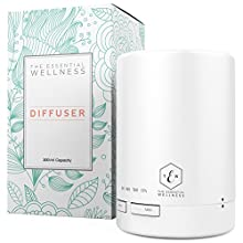 The Essential Wellness Essential Oil Diffuser and Aromatherapy Diffuser - BPA Free Diffusers for Essential Oils 8-10 Hours Continuous Diffusing - Quiet Aroma Diffuser 7 Colors Auto Shut Off 300ml