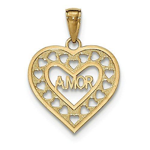 Amor - 14 carats à coupe-JewelryWeb pendentif en forme de cœur
