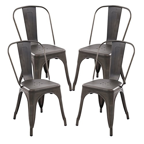 Poly and Bark Trattoria Side Chair in Bronze (Set of 4) Bistro Table Chair Set