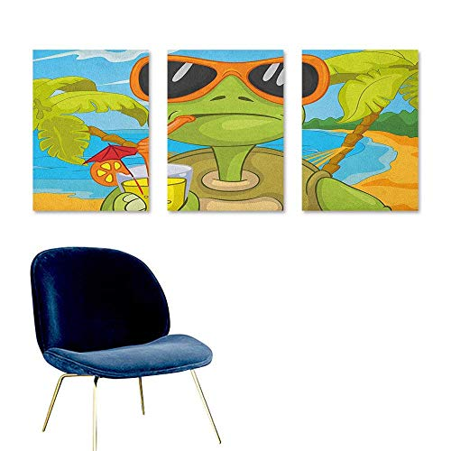 (Agoza Turtle Canvas Pictures Cool Sea Turtle with Sunglasses Drinking Cocktail at The Beach Cartoon Oil Canvas Painting Wall Art 3 Panels 16x24inch Green Orange Pale Blue)