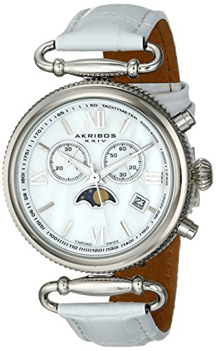 Akribos XXIV Women's AK754SSW Swiss Chronograph Quartz Movement Watch with White Mother of Pearl Dial and White Leather Calfskin Strap - White Mother Of Pearl Chronograph