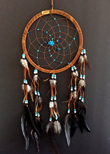 OMA Dream Catcher DreamCatcher  BROWN SUEDE WITH TURQUOISE DETAILS  Handmade LARGE SIZE  28quot Long x 9quot Diameter BRAND