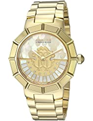 Roberto Cavalli by Franck Muller Women's 'Rotating DIAL' Quartz Gold-Tone-Stainless-Steel Casual Watch, Color:Gold (Model: RV2L011M0086)