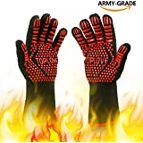 BBQ Grill Gloves [NEWEST] 1472℉ EN407 CE Heat Resistant - Oven Silicone Glove Fireproof for Smoker Baking - High-temp Barbecue Grilling Potholders - Heat-insulated Cooking Mitt, X-Long (Red)