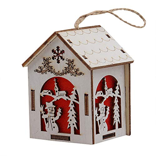 (Iusun Christmas Tabletop Decorations Wooden Dolls House LED Lamp Hanging Xmas Tree Snowman Deer Santa Claus Bell Pendants DIY Ornament Wedding Party Holiday New Year Decor (B3,5.3x5.7x8 cm))