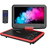ieGeek 11.5 inch Portable DVD Player with AV-IN/OUT, SD Card & USB Port, 5h Rechargeable Battery, 9.5'' Swivel Screen, Support Resume Function, Region Free, Red