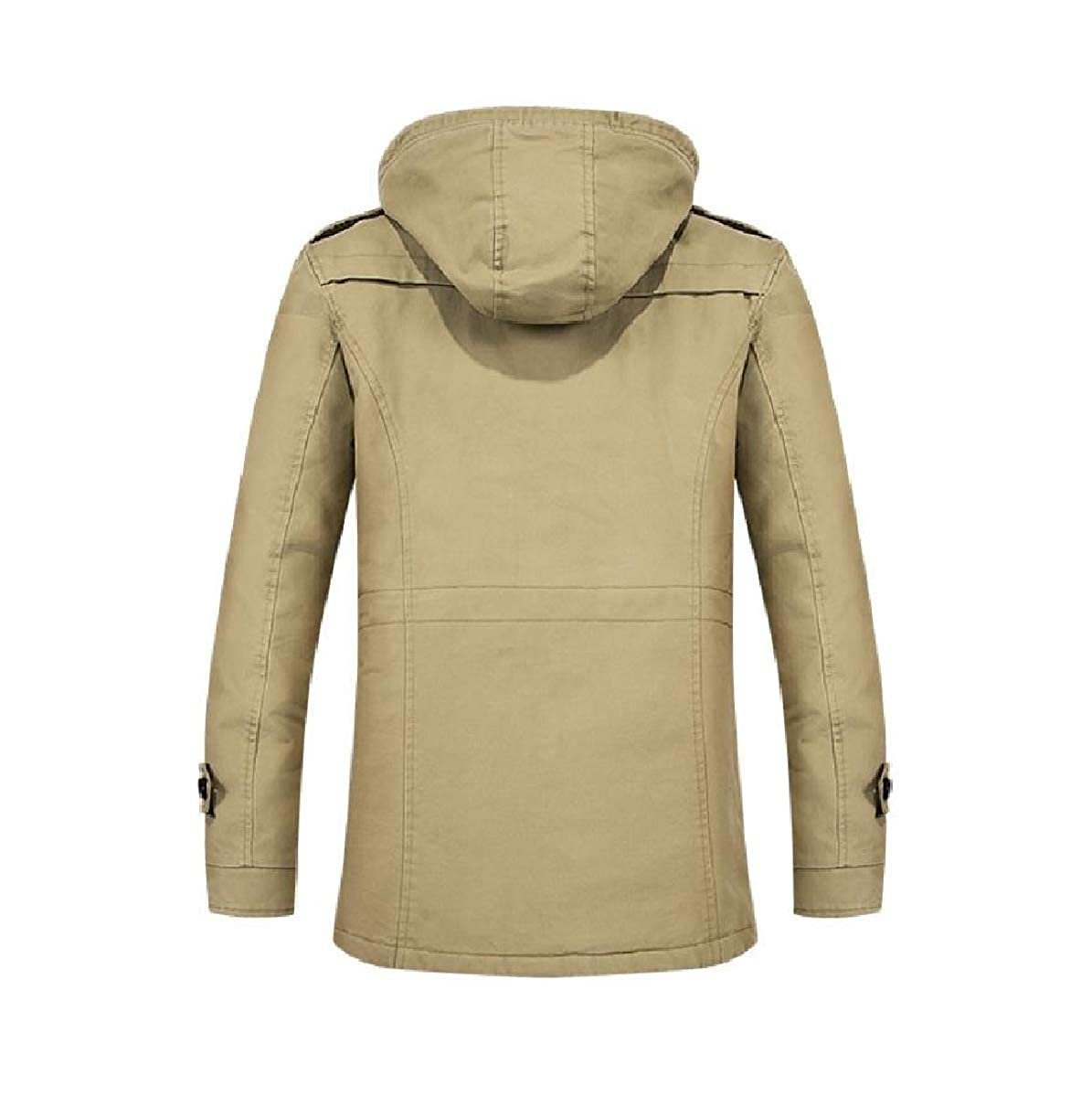YUNY Mens Warm Cotton Detachable Hood Fleece Coat Anorak Jackets Khaki L