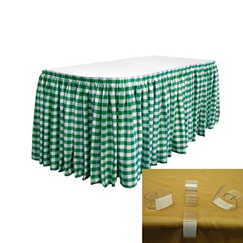 LA Linen Poly Checkered Table Skirt with 10 Large Clips, 17' by 29
