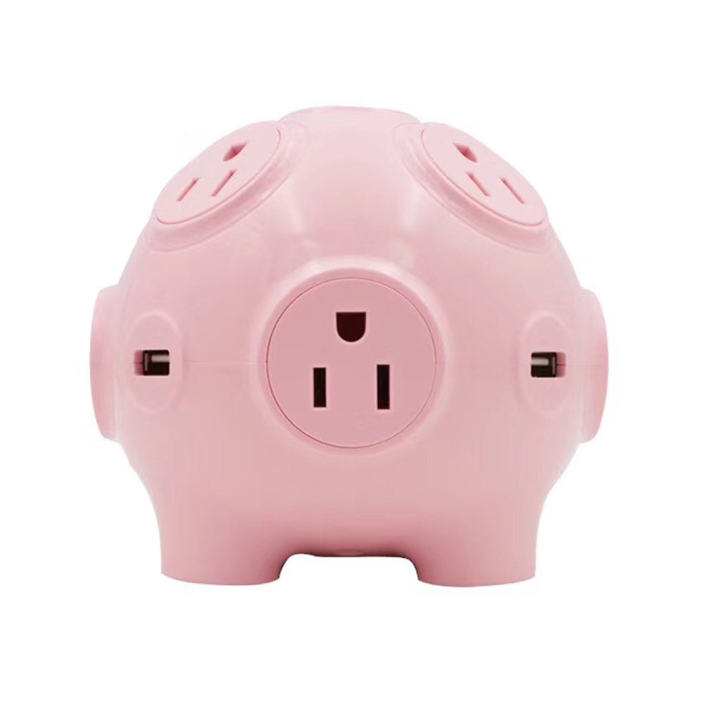 Cute Pig Multi-function Socket With 8 Outlet Travel Power Strip Surge Protector 4 USB Ports Charging Statio 2000W High Power Cute Pig Toy 3D Cube Housing Fireproof Smart Charging for Home Use Gift Cho