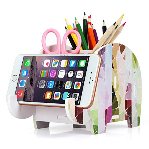 COOLBROS Elephant Pencil Holder with Phone Holder Desk Organizer Desktop Pen Pencil Mobile Phone Bracket Stand Storage Pot Holder Container Stationery Box Organizer (Striped Elephant)