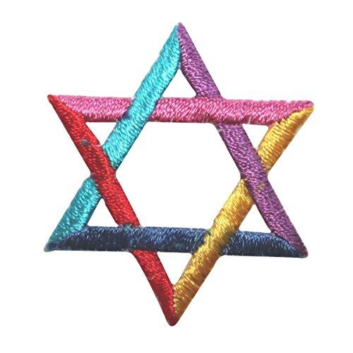 ID 8262 Jewish Star of David Patch Shield Hanukkah Embroidered Iron On Applique