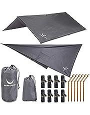 PURE HANG Premium tentzeil Tarp 3x3 voor hangmat outdoor camping 100% waterdicht met oogjes zonnezeil strand ultra licht zonwering UV-bescherming regenbescherming