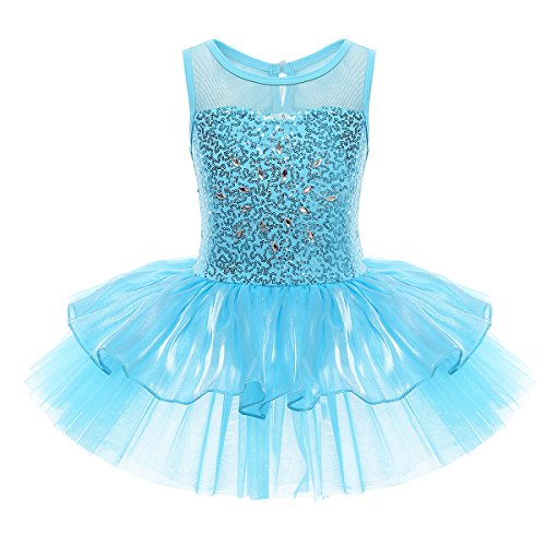 Sparkly Ballerina (YiZYiF Kids Girls' Sequin Ballet Dress Dancewear Costume with Chiffon Leotard (3, Tutu Blue))