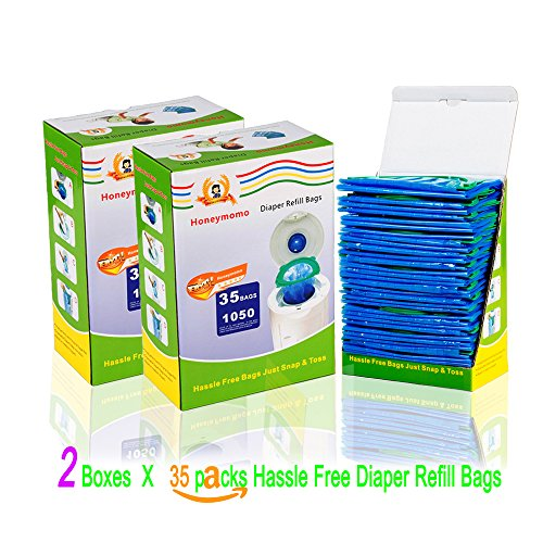 70Packs With Two boxes Diaper Refill bag One-handed Use,Just Snap, Seal And Toss Disposal by Honeymom