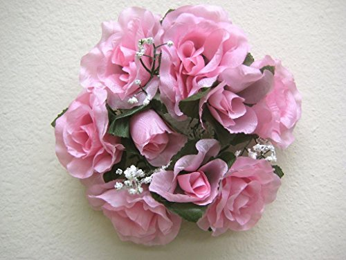 - 3 Candle Rings Rose Center Piece Artificial Silk Flowers 4005 Pink