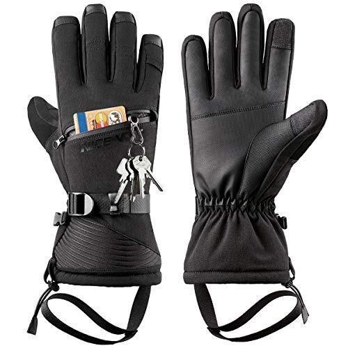 Winter Ski Gloves Men Women - Windproof Warm Touch Screen Design for Outdoor Sports Skiing Snowboarding Shoveling Snow Black L