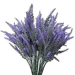 YSBER Artificial Flocked Lavender Bouquet Fake Flowers Bunch Bridal Home DIY Floor Garden Office Wedding Decor-Purple 1