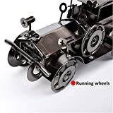 QBOSO Handmade Vintage Car Model Metal Antique Mini Car Collectible Old Vehicle Toys Handcrafted Retro Style Classic Car for Bar or Home Decoration