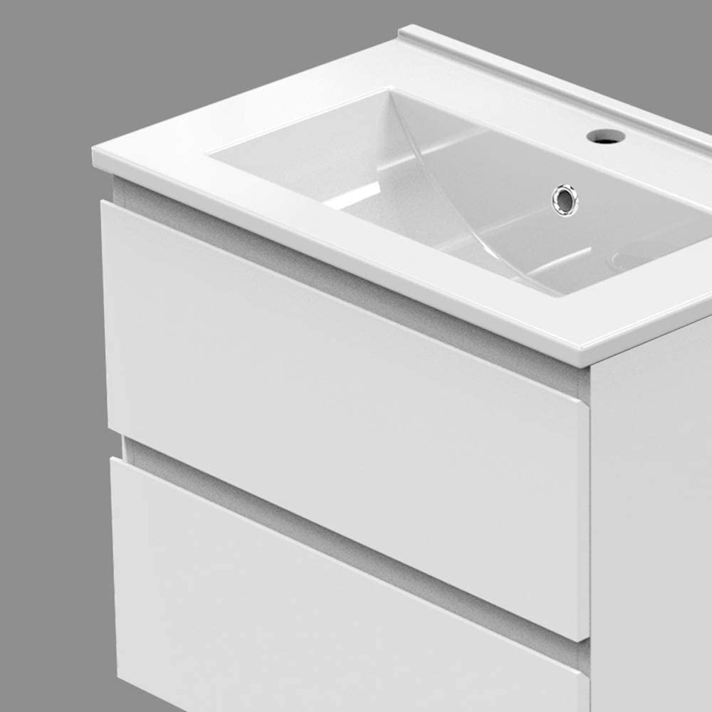 Xinyang Meuble de Salle de Bain Blanc,Meuble Lave-Mains /à Suspendre avec lavabo c/éramique Meuble de Rangement Double tiroir Blanc 50cm