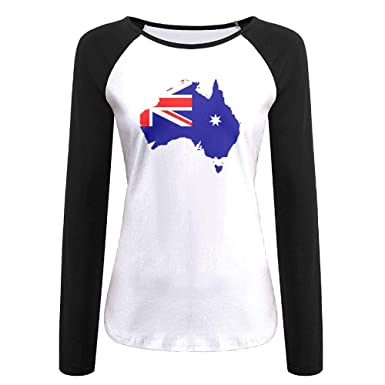Uw65t Ladies Long Sleeved Crew Neck T Shirts Casual Australia Map