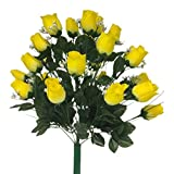 AMERIQUE Gorgeous Set Of 24 Real Touch Yellow Rose & White Baby Breath Amid Green Foliage Artificial Silk Flower Bouquet, Feel Real Technology, Large Rose Permanent Flower, Perfect for Valentine's Day Gifts, Wedding Party, Birthday Party, 24 Heads