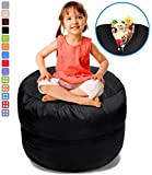 BeanBob Stuffed Animal Storage Bean Bag Chair in Black – 2.5ft Large Fill & Chill Space Saving Toy Organizer for Children – For Blankets, Teddy Bears, Clothes & Bedding